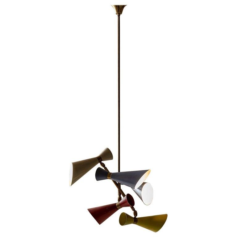 Stilnovo Pendant with Five Lights For Sale