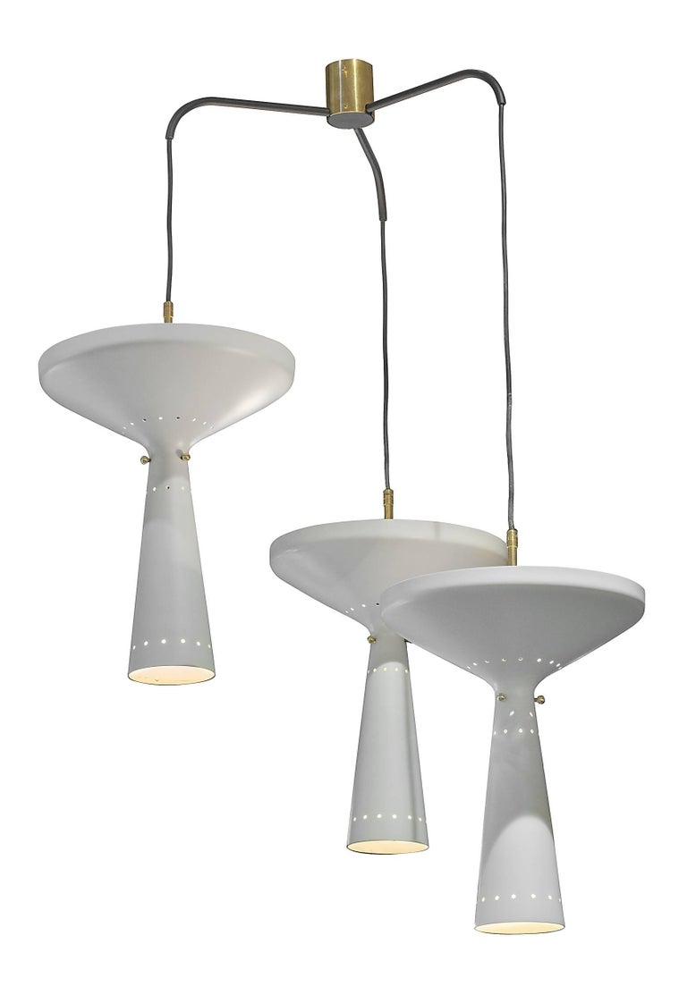 Mid-Century Modern Stilnovo Perforated Metal Three Pendant Chandelier, Italy, 1950s For Sale
