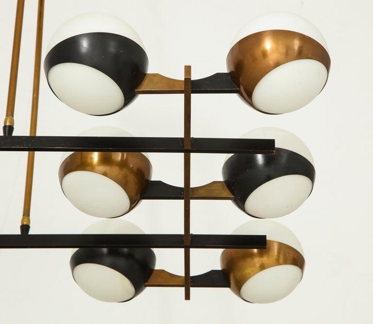 Stilnovo Rare Twelve-Light Chandelier In Good Condition For Sale In New York, NY
