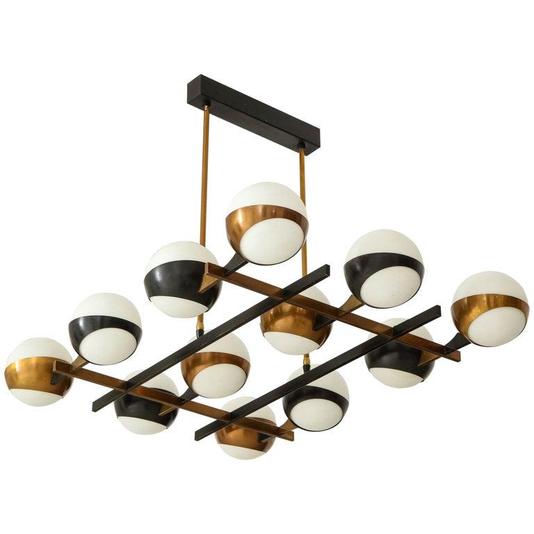 Stilnovo Rare Twelve-Light Chandelier For Sale