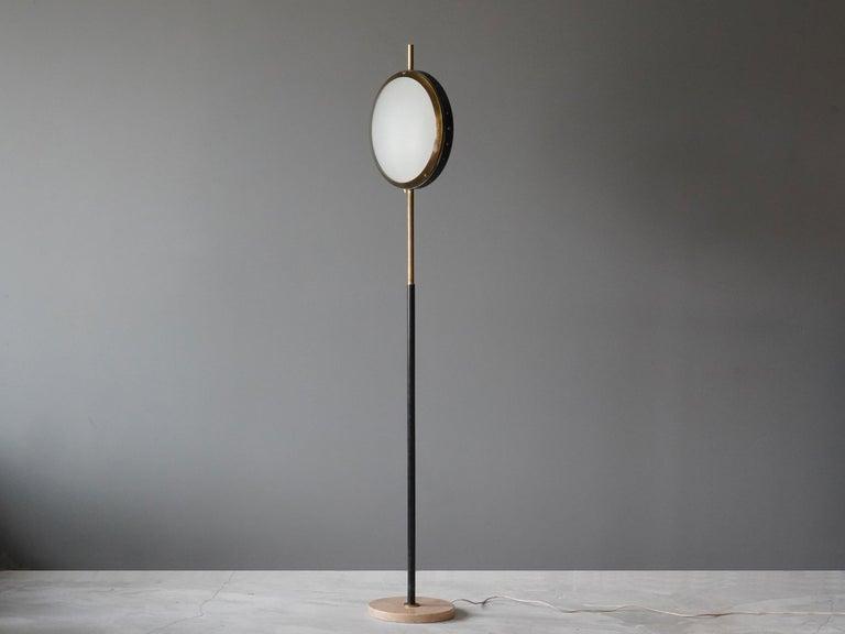 Italian Stilnovo, Rare Modernist Floor Lamp, Marble, Glass, Brass, Metal, Italy, 1950s