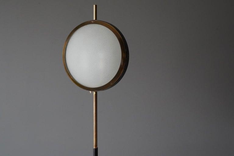 Stilnovo, Rare Modernist Floor Lamp, Marble, Glass, Brass, Metal, Italy, 1950s In Good Condition In West Palm Beach, FL