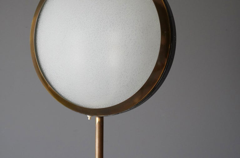 Mid-20th Century Stilnovo, Rare Modernist Floor Lamp, Marble, Glass, Brass, Metal, Italy, 1950s