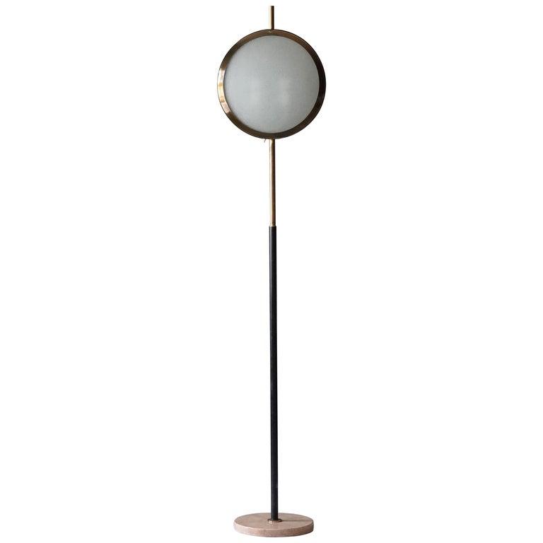 Stilnovo, Rare Modernist Floor Lamp, Marble, Glass, Brass, Metal, Italy, 1950s