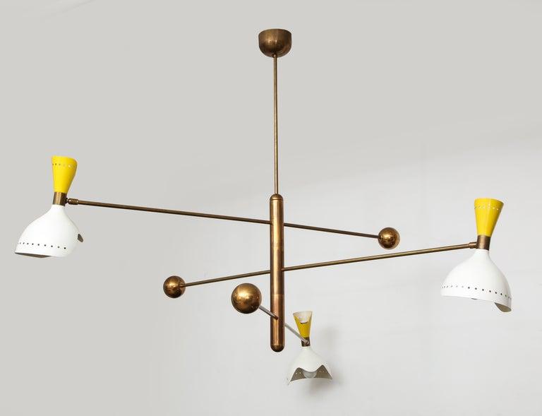 Mid-Century Modern Stilnovo Rare Chandelier For Sale