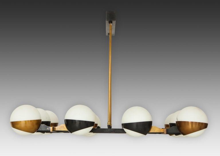 Italian Stilnovo Rare Pair of Twelve-Light Chandeliers For Sale