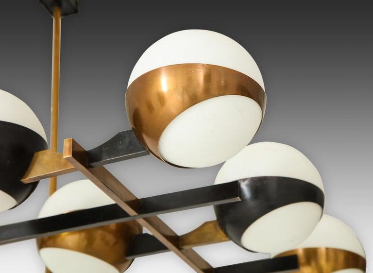 Brass Stilnovo Rare Pair of Twelve-Light Chandeliers For Sale