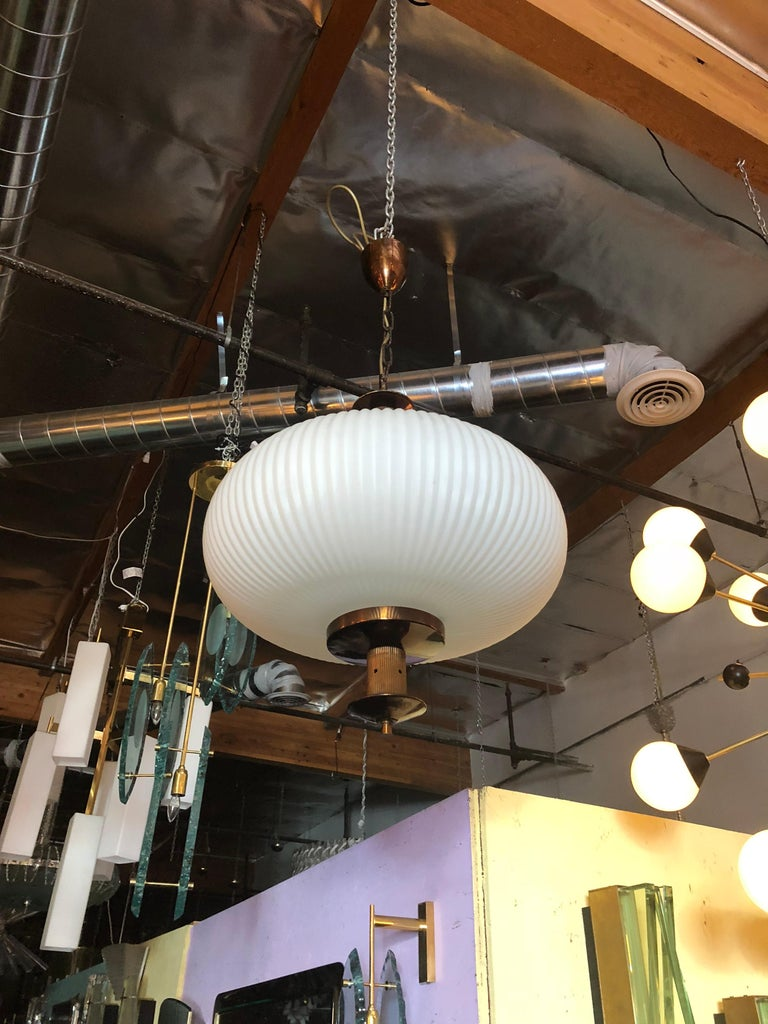 Mid-Century Modern Stilnovo Ribbed Lantern For Sale