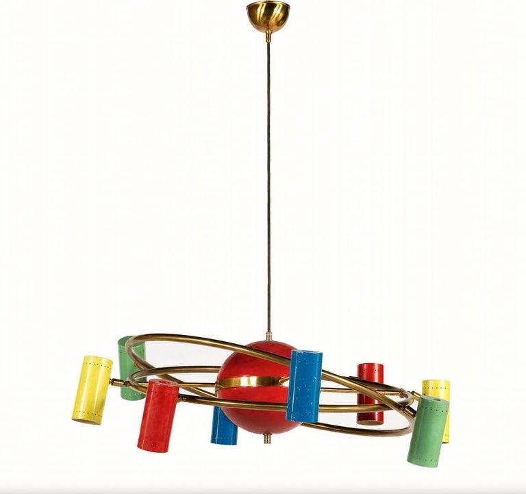 Stilnovo 'Saturno' Chandelier, Signed For Sale 8