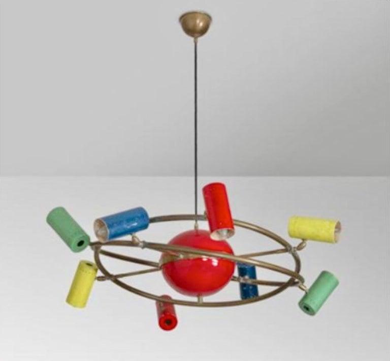 Mid-Century Modern Stilnovo 'Saturno' Chandelier, Signed For Sale