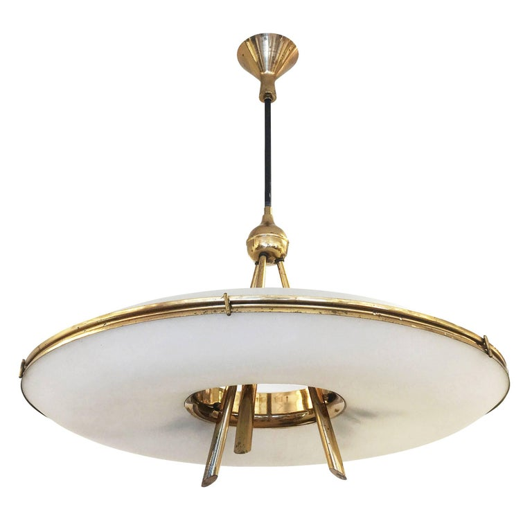 Stilnovo Saucer Chandelier, Italy, 1960s In Good Condition For Sale In New York, NY