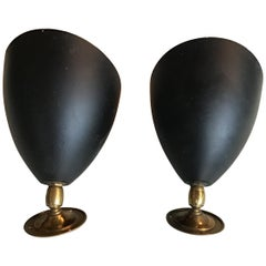 Stilnovo Sconces 1950 Metal Black Brass, Italy