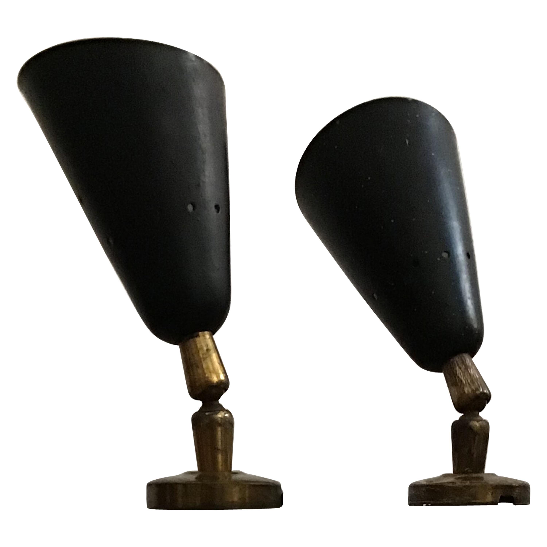 Stilnovo Style Sconces Adjustable Wall Lights Brass Metal, 1950, Italy