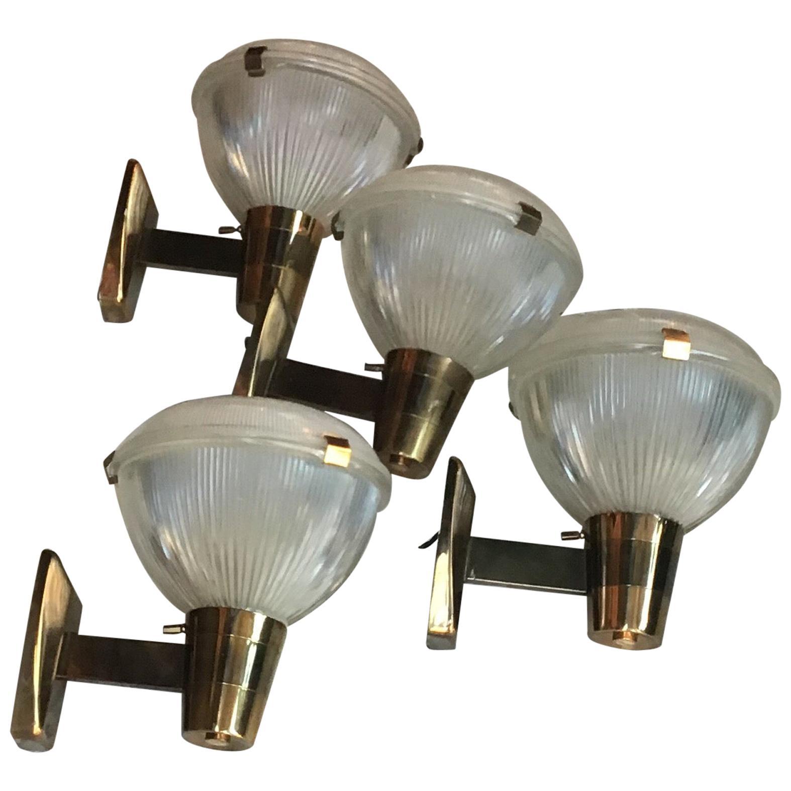 Stilnovo Sconces Brass Glass 1955 Italy