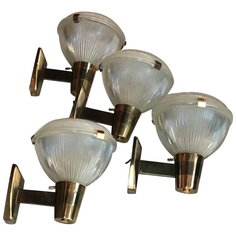 Stilnovo Sconces Brass Glass, 1955, Italy For Sale