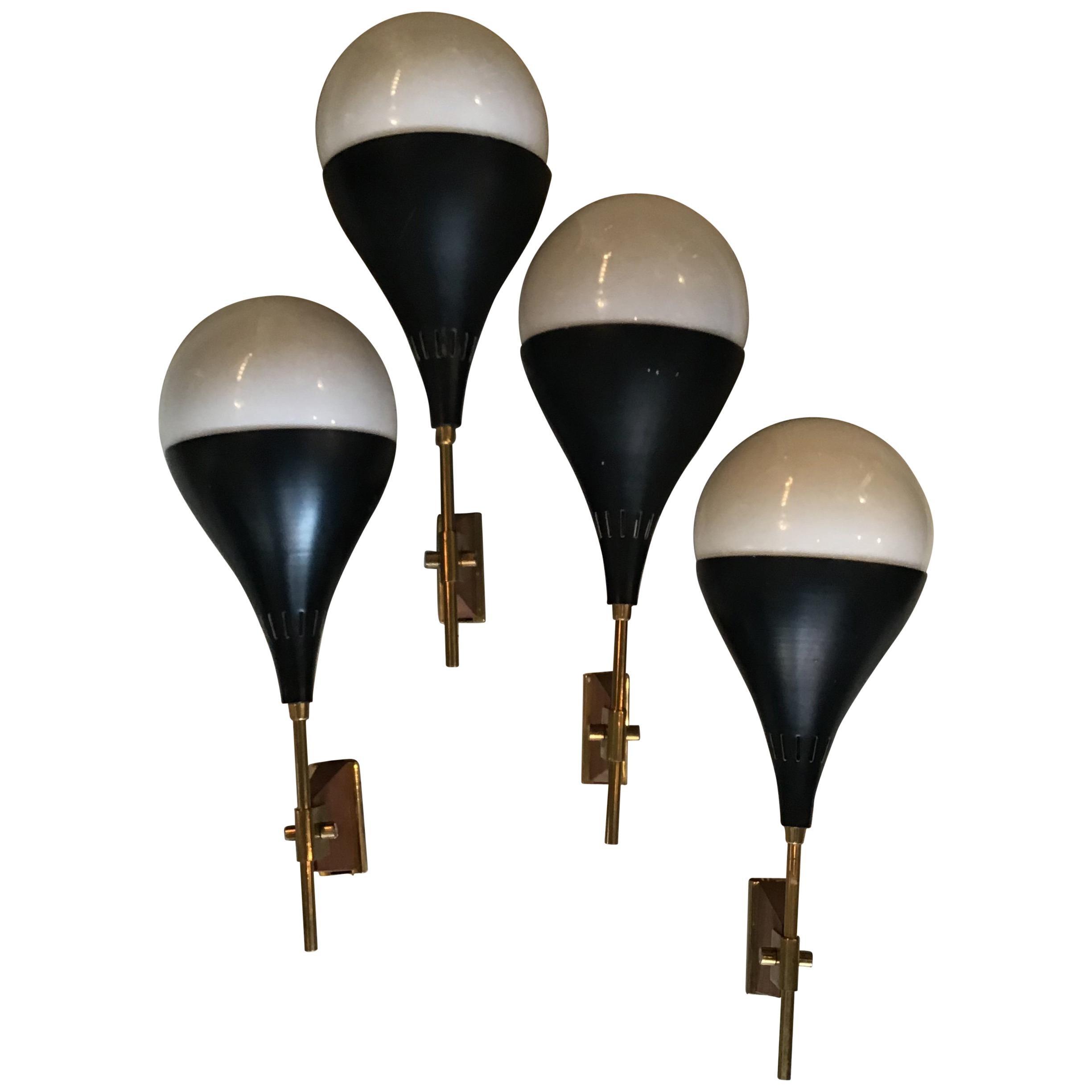 Stilnovo Sconces Brass Glass Wood Black Metal 1950, Italy