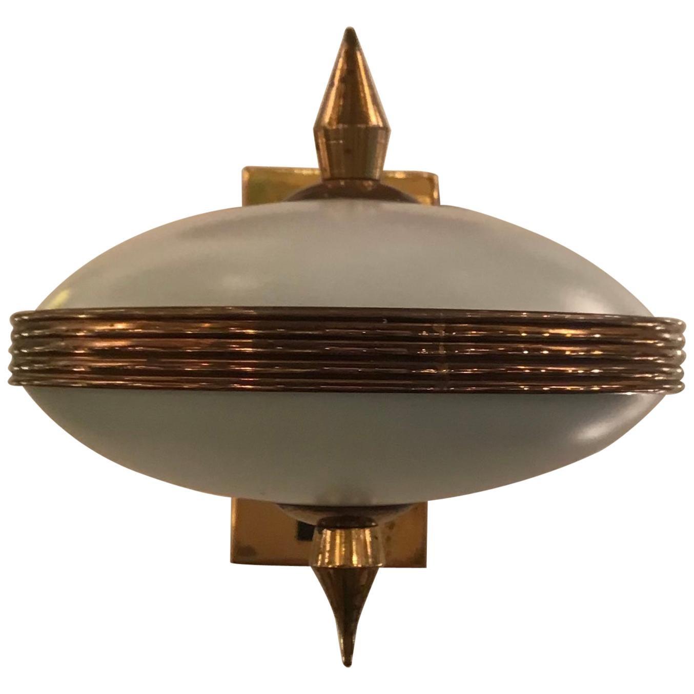 Stilnovo Style Sconces Brass Opaline Glass Iron, 1950, Italy