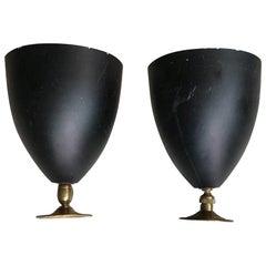 Stilnovo Sconces Metal Black Brass, 1950, Italy