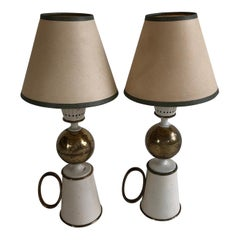 Stilnovo Side Table Lamps, Signed in the Brass, Pair, circa 1950s, Italy