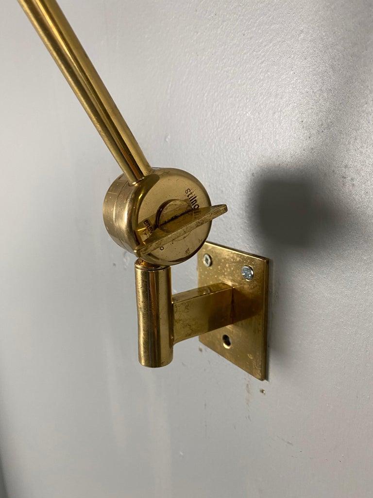 Stilnovo Signed Brass Adjustable Wall Lamp, 1950s For Sale 4