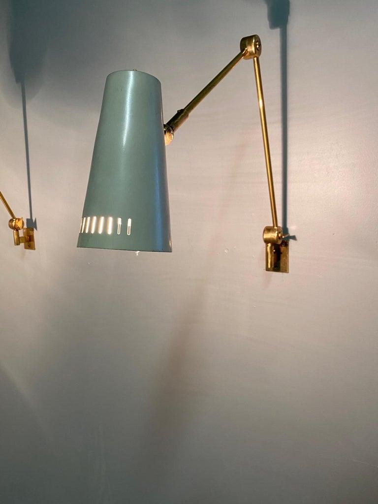 Stilnovo Signed Brass Adjustable Wall Lamp, 1950s For Sale 5