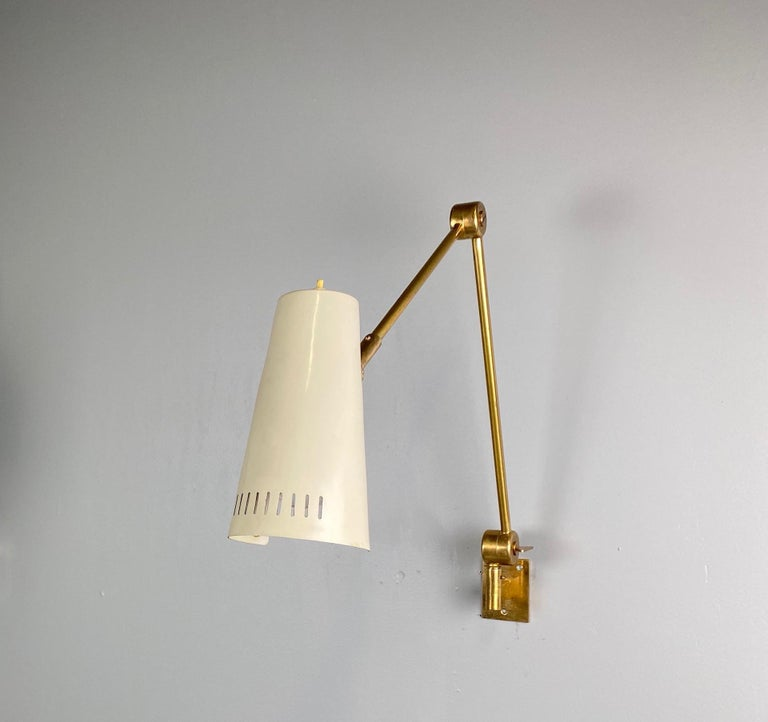Mid-Century Modern Stilnovo Signed Brass Adjustable Wall Lamp, 1950s For Sale