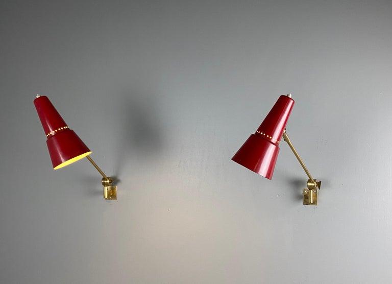 Italian Stilnovo Signed Brass Adjustable Wall Lamp, 1950s For Sale