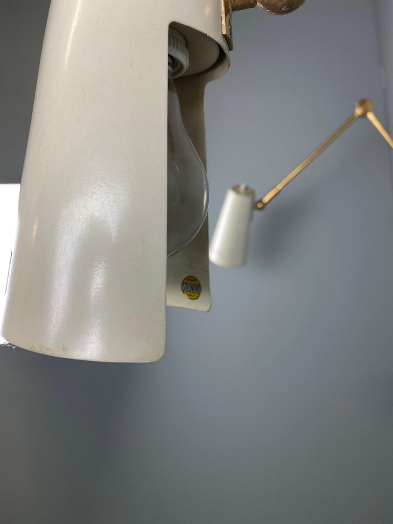 Stilnovo Signed Brass Adjustable Wall Lamp, 1950s For Sale 1