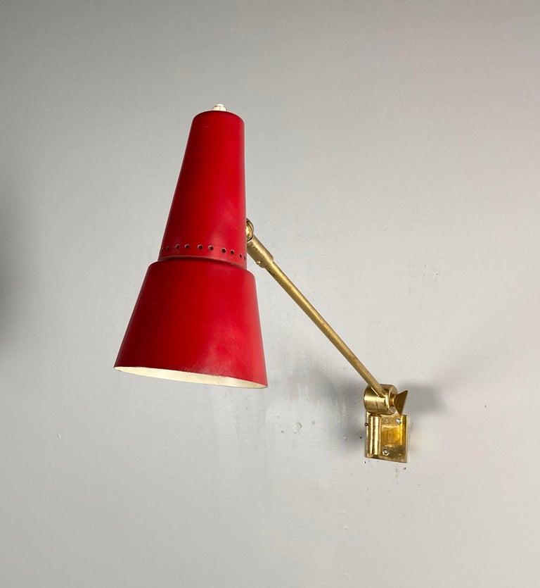 Stilnovo Signed Brass Adjustable Wall Lamp, 1950s For Sale 3