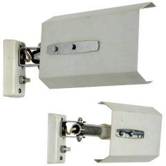 Stilnovo Signed Pair of White Midcentury Mod. 2133 Adjustable White Wall Lights