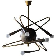Stilnovo, Six-Armed Modernist Chandelier or Ceiling Lamp, Brass, Italy, 1950s