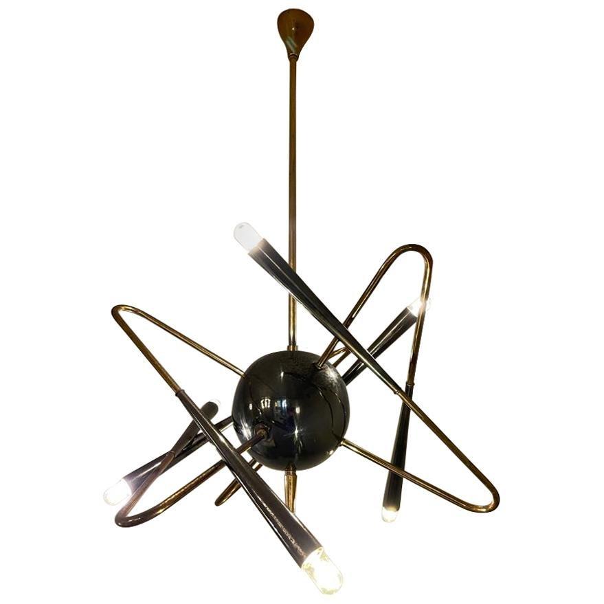 Stilnovo Sputnik Brass Chandelier Excellent Vintage Patina, Italy, 1950s