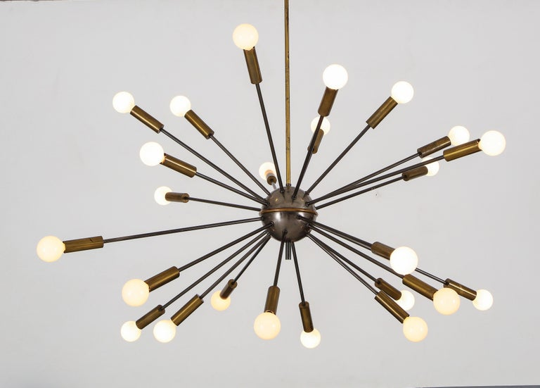 Mid-Century Modern Stilnovo 1950s Rare Original Sputnik Chandelier For Sale