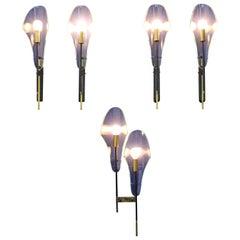 Stilnovo Style 1960 Midcentury Design Iron Brass Glass Sconces