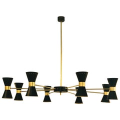 Stilnovo Style Brass and 8-Arm Black Enameled Perforated Steel Cones Chandelier