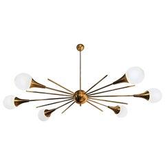 Stilnovo Style Brass Frame & 6 Torchiere w/ White Glass Globe Sputnik Chandelier