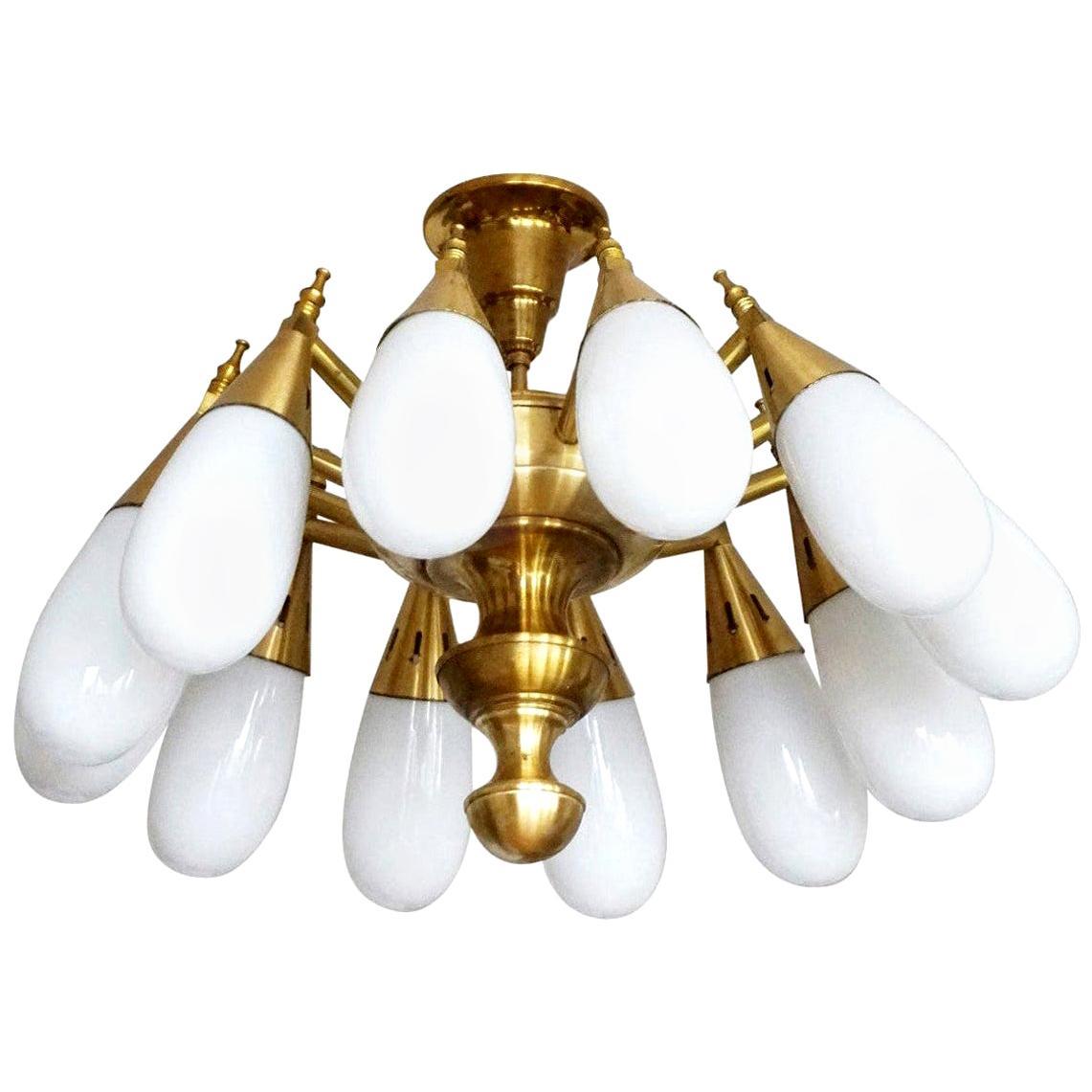 Stilnovo Style Brass Hand Blown Opaline Glass Twelve-Light Chandelier, 1960s
