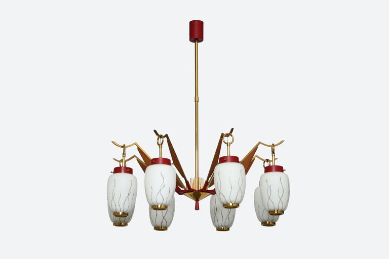 Stilnovo style chandelier with eight arms. Made in Italy in 1960s. Glass bells with floral decoration.