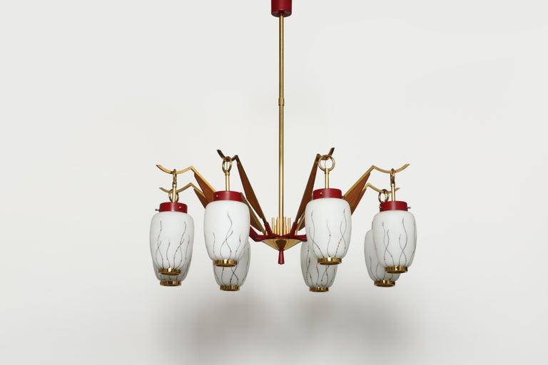 Mid-Century Modern Stilnovo Style Chandelier For Sale