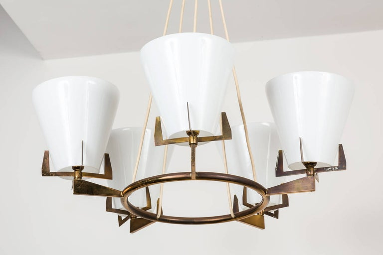 Stilnovo Style Chandelier In Excellent Condition For Sale In Los Angeles, CA