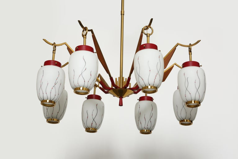 Enameled Stilnovo Style Chandelier For Sale