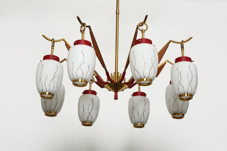 Stilnovo Style Chandelier In Good Condition For Sale In Brooklyn, NY