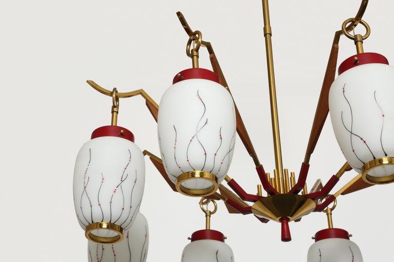 Mid-20th Century Stilnovo Style Chandelier For Sale