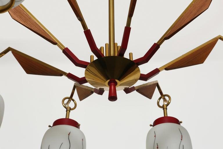 Brass Stilnovo Style Chandelier For Sale