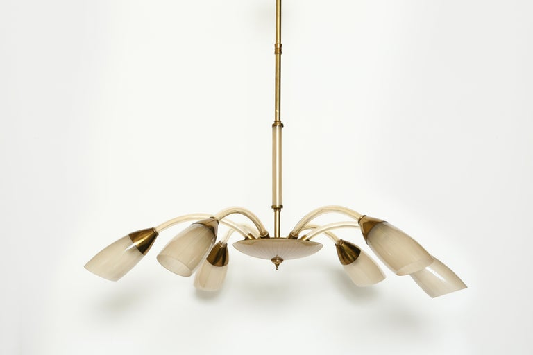 Mid-Century Modern Stilnovo Style Italian Chandelier For Sale