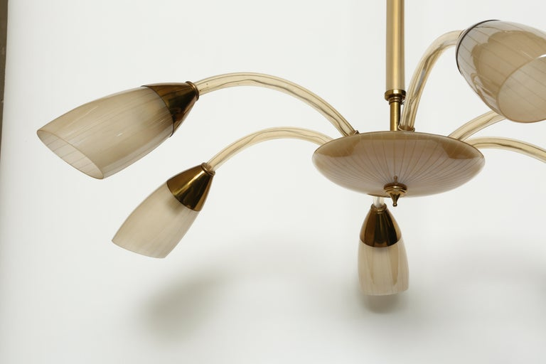 Mid-20th Century Stilnovo Style Italian Chandelier For Sale