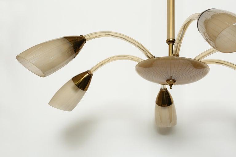Brass Stilnovo Style Italian Chandelier For Sale