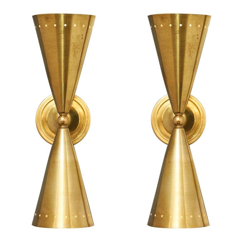 Stilnovo Style Italian Modernist Brass Sconces