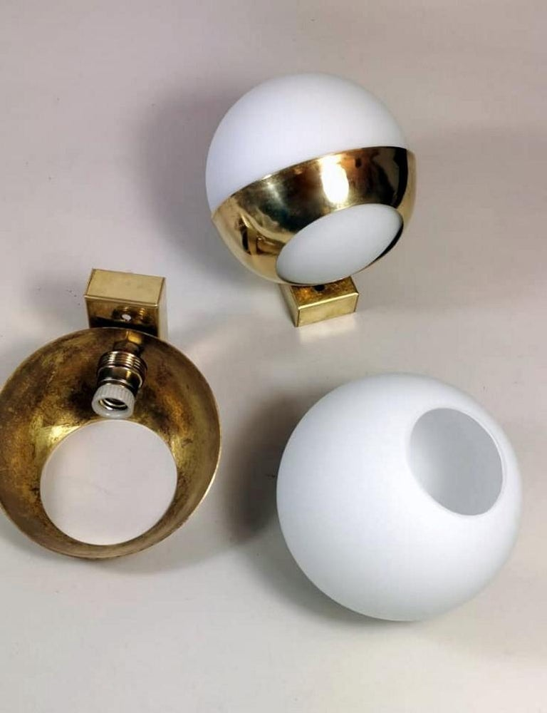 Stilnovo Style Italian Pair of Brass Wall Sconces and Glass Spheres Opaline  5