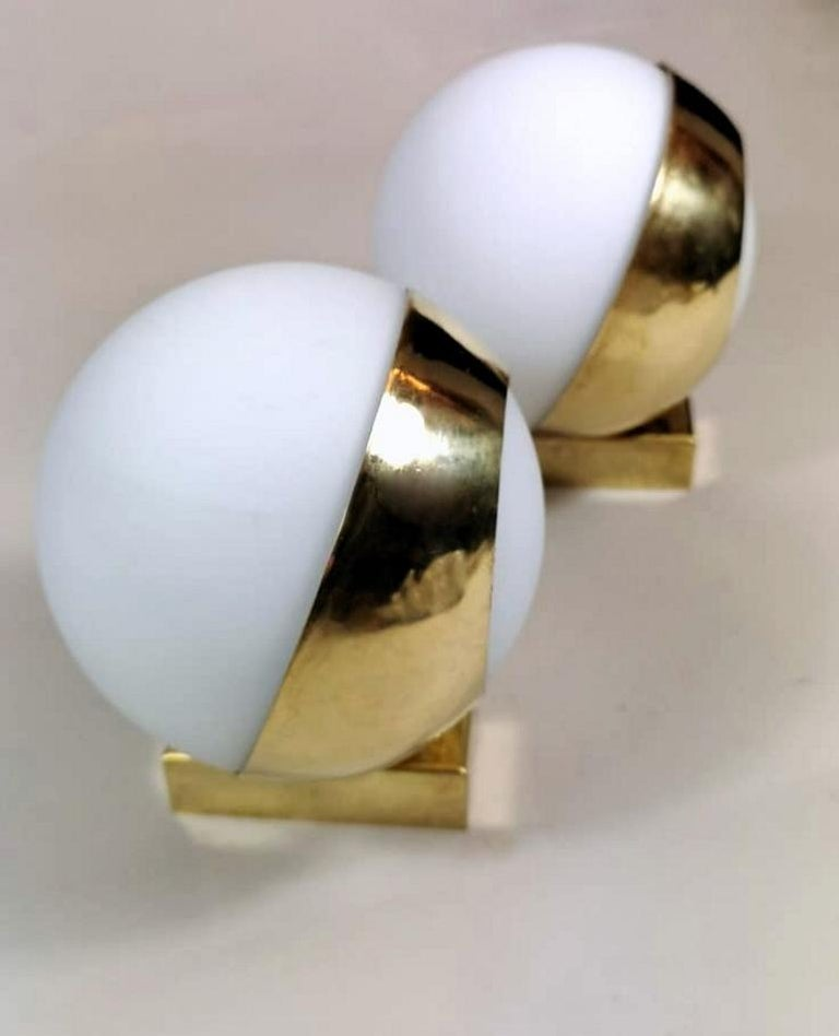 Polished Stilnovo Style Italian Pair of Brass Wall Sconces and Glass Spheres Opaline